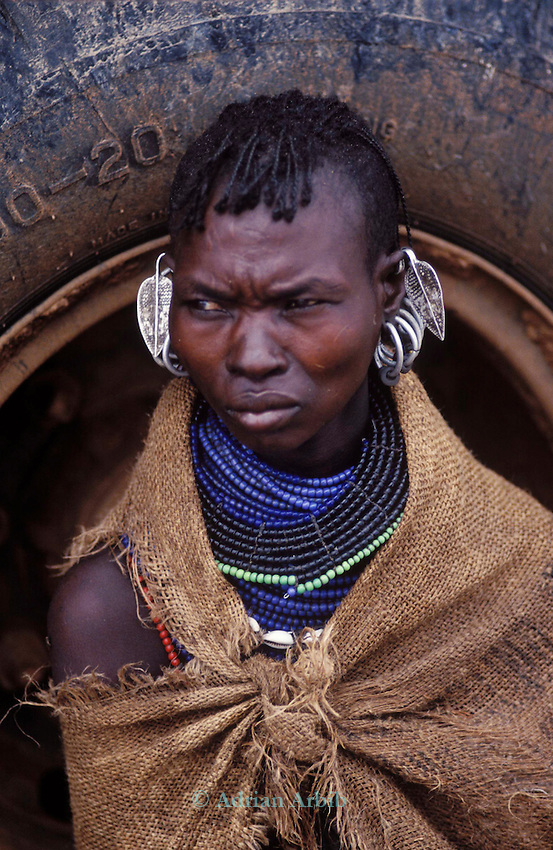 A Turkana woman waits for famine relief on the edge of the Suguta Valley...Northern Kenya.....
