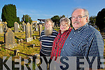 Jim Redshaw pictured with his wife Evelyn Redshaw and Mike O'Neill Camp on Monday last at the grave of his great grandfather Alfred Thomas Redshaw who was the driver of the Camp Train disaster in 1893.