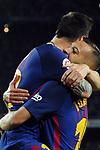 League Santander 2017/2018. Game: 03.<br /> FC Barcelona vs RCD Espanyol: 5-0.<br /> Lionel Messi &amp; Jordi Alba.