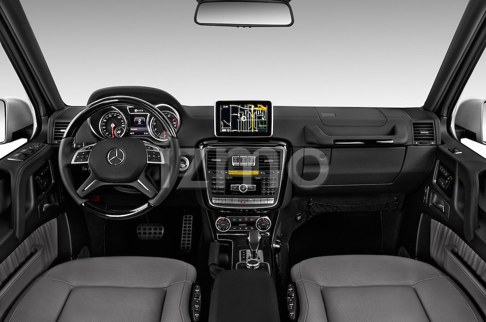 Stock photo of straight dashboard view of 2018 Mercedes Benz G-Class G550 5 Door SUV Dashboard