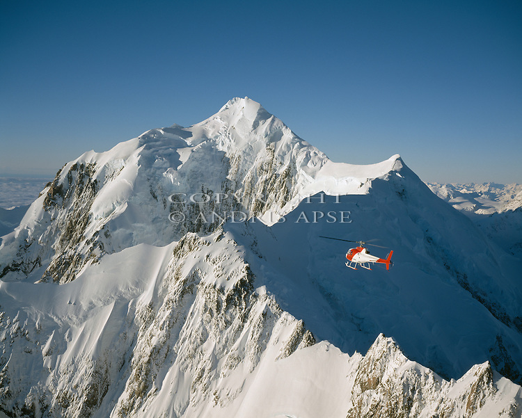 Helicopter scenic flight in Westland National Park. Mount Tasmand. New Zealand.