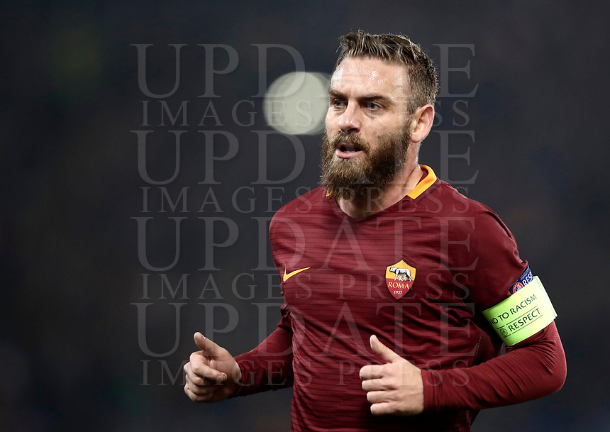 Football Soccer: Europa League Round of 16 second leg, Roma-Lyon, stadio Olimpico, Roma, Italy, March 16,  2017. <br /> Roma's Daniele De Rossi in action during the Europe League football soccer match between Roma and Lyon at the Olympique stadium, March 16,  2017. <br /> Despite losing 2-1, Lyon reach the quarter finals for 5-4 aggregate win.<br /> UPDATE IMAGES PRESS/Isabella Bonotto