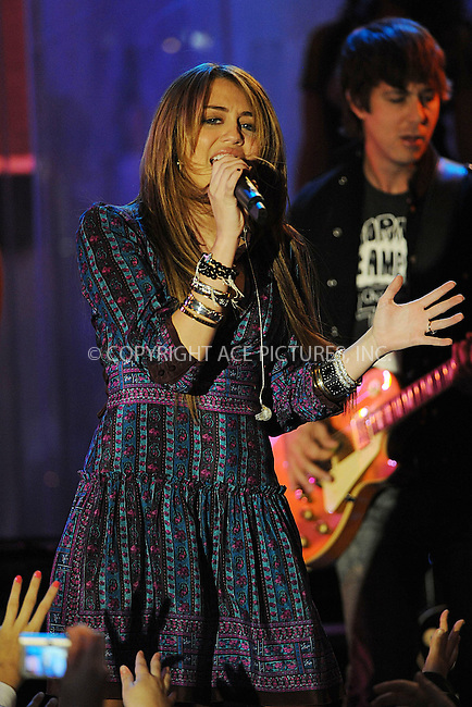 WWW.ACEPIXS.COM . . . . . ....April 8 2009, New York City....Singer Miley Cyrus performed live for ABC's ''Good Morning America'' at the Hard Rock Cafe on April 8, 2009 in New York City.....Please byline: KRISTIN CALLAHAN - ACEPIXS.COM.. . . . . . ..Ace Pictures, Inc:  ..tel: (212) 243 8787 or (646) 769 0430..e-mail: info@acepixs.com..web: http://www.acepixs.com