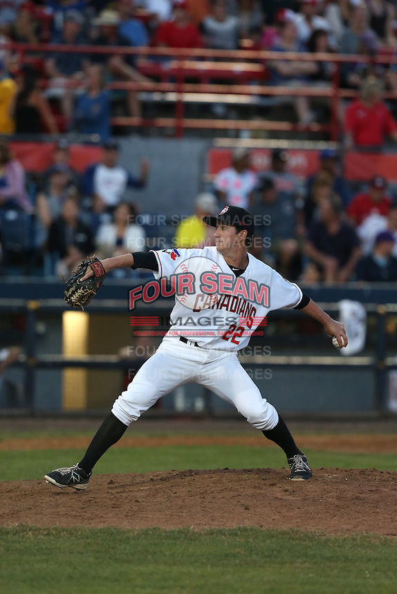 Michael Kraft (22) of the Vancouver Canadians pitches during a game against the Tri-City Dust Devils at Nat Bailey Stadium on July 23, 2015 in Vancouver, British Columbia. Tri-City defeated Vancouver, 6-4. (Larry Goren/Four Seam Images)