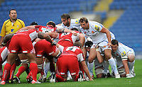 Oxford, England. Exeter Chiefs scrum during the Aviva Premiership match between London Welsh and Exeter Chiefs at the Kassam Stadium on September 16, 2012 in Oxford, England.