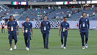 CHICAGO, ILLINOIS - JULY 07: Weston McKennie #8, Christian Pulisic #10, Tyler Boyd #21, Jonathan Lewis #18, Omar Gonzalez #3 prior to the 2019 CONCACAF Gold Cup Final match between the United States and Mexico at Soldier Field on July 07, 2019 in Chicago, Illinois.