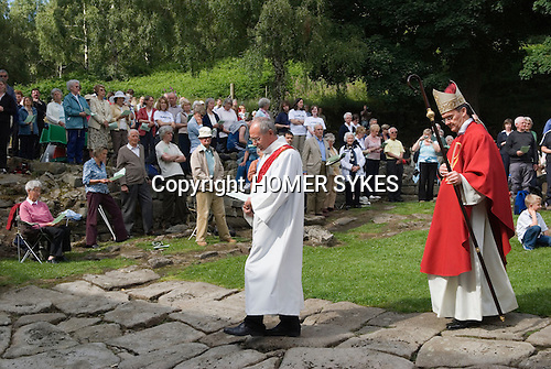 "The annual Padley Martyrs Roman Catholic Pilgrimage. Padley, Padley Chapel, Grindleford, Derbyshire  UK 2008. Bishop ""John Arnold"" with crook."