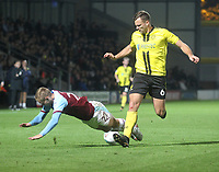 Burnley's Matej Vydra is fouled by Burton Albion's Ben Turner<br /> <br /> Photographer Mick Walker/CameraSport<br /> <br /> The Carabao Cup Round Three   - Burton Albion  v Burnley - Tuesday  25 September 2018 - Pirelli Stadium - Buron On Trent<br /> <br /> World Copyright © 2018 CameraSport. All rights reserved. 43 Linden Ave. Countesthorpe. Leicester. England. LE8 5PG - Tel: +44 (0) 116 277 4147 - admin@camerasport.com - www.camerasport.com