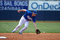 Tulsa Drillers second baseman Brandon Dixon (11) fields a ground ball during a game against the Midland RockHounds on June 3, 2015 at Oneok Field in Tulsa, Oklahoma.  Midland defeated Tulsa 5-3.  (Mike Janes/Four Seam Images)