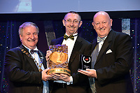 Chris Willetts, Muse Productions Musical Society, Shannon, County Clare who won Best Actor / Sullivan Section for his performance as 'Cervantes /Quixote in 'Man of La Mancha'' receiving the trophy from on  left, Colm Moules, President, AIMS and Seamus Power, Vice-President at the Association of Irish Musical Societies annual awards in the INEC, KIllarney at the weekend.<br /> Photo: Don MacMonagle -macmonagle.com<br /> <br /> <br /> <br /> repro free photo from AIMS<br /> Further Information:<br /> Kate Furlong AIMS PRO kate.furlong84@gmail.com