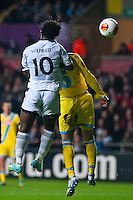 Swansea, UK. Thursday 20 February 2014<br /> Pictured: Wilfried Bony tries to head the ball into the Napoli Newt but fails <br /> Re: UEFA Europa League, Swansea City FC v SSC Napoli at the Liberty Stadium, south Wales, UK