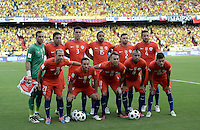 BARRANQUILLA - COLOMBIA - 10-11-2016:  Jugadores de Chile posan para una foto previo al partido entre Colombia y Chile por la fecha 11 de la clasificatoria a la Copa Mundial de la FIFA Rusia 2018 jugado en el estadio Metropolitano Roberto Melendez en Barranquilla./ Players of Chile pose to a photo prior the match between Colombia and Chile for the date 11 of the qualifier to FIFA World Cup Russia 2018 played at Metropolitan stadium Roberto Melendez in Barranquilla. Photo: VizzorImage/ Gabriel Aponte / Staff