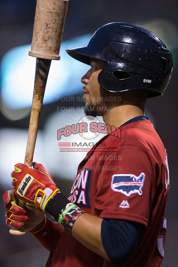 J.P. Crawford (3) of the Lehigh Valley Iron Pigs waits for his turn to hit during the game against the Charlotte Knights at BB&T BallPark on June 3, 2016 in Charlotte, North Carolina.  The Iron Pigs defeated the Knights 6-4.  (Brian Westerholt/Four Seam Images)