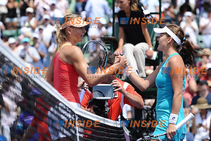 Agnieszka Radwanska (Polonia azzurro) Vs Maria Sharapova (Russia rosso) 7/5, 6/4 .Miami 31/3/2012.Tennis Torneo di Miami.Foto Insidefoto / COUVERCELLE / TENNISMAG / PANORAMIC.ITALY ONLY