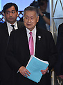 November 29, 2016, Tokyo, Japan - Yoshiro Mori, head of the 2020 Tokyo Olympics and Paralympics Organizing Committee, arrives for a four-party meeting to review costs and venues for the 2020 Tokyo Olympics and Paralympics at a Tokyo hotel on Tuesday, November 29, 2016. The four top-level representatives of the International Olympic Committee, 2020 Games organizers, the Tokyo Metropolitan and Japanese governments discussed details regarding the venues for rowing/canoe and volleyball based on proposals by the metropolitan government.  (Photo by Natsuki Sakai/AFLO) AYF -mis-
