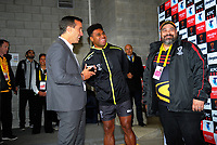 Fiji captain Kevin Naiqama prepares to call for the coin toss before the 2017 Rugby League World Cup quarterfinal match between New Zealand Kiwis and Fiji at Wellington Regional Stadium in Wellington, New Zealand on Saturday, 18 November 2017. Photo: Dave Lintott / lintottphoto.co.nz