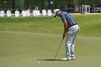 Sam Saunders (USA) watches his putt on 18 during round 1 of the AT&T Byron Nelson, Trinity Forest Golf Club, at Dallas, Texas, USA. 5/17/2018.<br /> Picture: Golffile | Ken Murray<br /> <br /> <br /> All photo usage must carry mandatory copyright credit (© Golffile | Ken Murray)