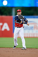 Syracuse Chiefs second baseman Bengie Gonzalez (3) throws to first base during a game against the Scranton/Wilkes-Barre RailRiders on June 14, 2018 at NBT Bank Stadium in Syracuse, New York.  Scranton/Wilkes-Barre defeated Syracuse 9-5.  (Mike Janes/Four Seam Images)