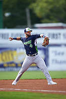 Vermont Lake Monsters third baseman Ryan Howell (4) warmup throw to first during a game against the Batavia Muckdogs August 9, 2015 at Dwyer Stadium in Batavia, New York.  Vermont defeated Batavia 11-5.  (Mike Janes/Four Seam Images)