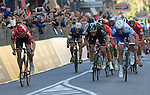 Arnaud Demare (FRA) FDJ outsprints Ben Swift (GBR) Team Sky and Jurgen Roelandts (BEL) Lotto-Soudal to win the 2016 Milan-San Remo race, running 293km from Milan to San Remo, on the Via Roma, San Remo, Italy. 19th March 2016.<br /> Picture: ANSA/Luca Zennaro | Newsfile<br /> <br /> <br /> All photos usage must carry mandatory copyright credit (© Newsfile | Luca Zennaro)