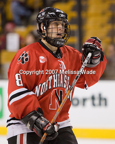 Bryan Esner (NU - 8) - The Northeastern University Huskies defeated the Harvard University Crimson 3-1 in the Beanpot consolation game on Monday, February 12, 2007, at TD Banknorth Garden in Boston, Massachusetts.