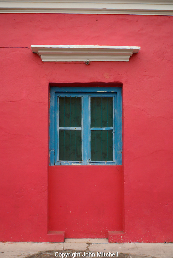 Colorful window in the Spanish colonial town of Tlacotalpan, Veracruz, Mexico. Tlacotlapan was made a UNESCO World Heritage Site in 1998.