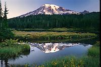 Mount Rainier from Reflection Lakes<br /> Mount Rainier National Park<br /> Cascade Range, Washington