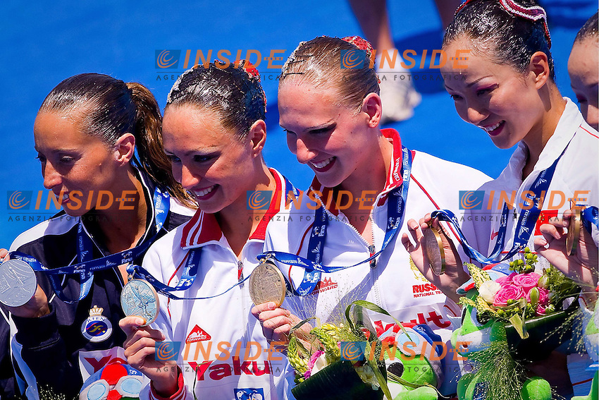 Roma 21th July 2009 - 13th Fina World Championships From 17th to 2nd August 2009..Synchronized swimming - Technical duet finals..The podium: Spain (Silver medal), Russia (Gold medal) and China (Bronze medal)......photo: Roma2009.com/InsideFoto/SeaSee.com