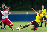 Anneka Nuttall of Watford Ladies & Emma Marshall of Stevenage Ladies during the pre season friendly match between Stevenage Ladies FC and Watford Ladies at The County Ground, Letchworth Garden City, England on 16 July 2017. Photo by Andy Rowland / PRiME Media Images.