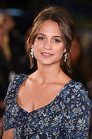 "Alicia Vikander<br /> at the premiere of ""The Light Between Oceans"" at the Curzon Mayfair, London.<br /> <br /> <br /> ©Ash Knotek  D3184  19/10/2016"