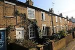 Historic row of terraced houses built from London Clay bricks, Woodbridge, Suffolk, England, UK