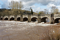 Pictured: The swollen river Usk.<br /> Re: Cleanup after storm Dennis in Crickhowell, Wales, UK.