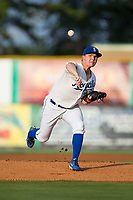 Burlington Royals starting pitcher Connor Mayes (37) delivers a pitch to the plate against the Danville Braves at Burlington Athletic Stadium on August 14, 2017 in Burlington, North Carolina.  The Royals defeated the Braves 9-8 in 10 innings.  (Brian Westerholt/Four Seam Images)