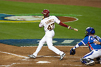 21 March 2009: #47 Endy Chavez of Venezuela hits the ball during the 2009 World Baseball Classic semifinal game at Dodger Stadium in Los Angeles, California, USA. Korea wins 10-2 over Venezuela.