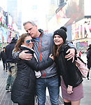 Michael Park with wife Laura Nowark and daughter Kathleen Rose Parkattends Big Hug Day: Broadway comes together to spread kindness and raise funds for Children's Hospitals on January 21, 2018 at Duffy Square, Times Square in New York City.