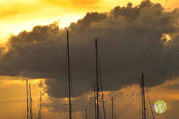 Westin Resort, St. John, USVI, Caribbean. Great Cruz Bay at sunset.