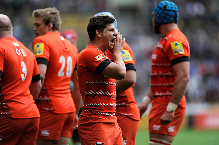 Ben Youngs of Leicester Tigers shouts instructions to his backs
