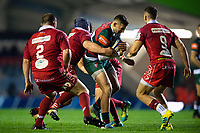 Jonny May of Leicester Tigers takes on the Scarlets defence. Heineken Champions Cup match, between Leicester Tigers and the Scarlets on October 19, 2018 at Welford Road in Leicester, England. Photo by: Patrick Khachfe / JMP