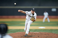 Wake Forest Demon Deacons starting pitcher Ryan Cusick (33) delivers a pitch to the plate against the Davidson Wildcats at David F. Couch Ballpark on May 7, 2019 in  Winston-Salem, North Carolina. The Demon Deacons defeated the Wildcats 11-8. (Brian Westerholt/Four Seam Images)