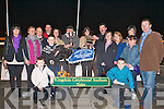 TOP DOG: Jane Dowling presenting Lewis Doyle owner of Titan Tyrone winner of John & Mary Killeacle Dowling Memorial Final at the Kingdom Greyhound Stadium on Saturday front l-r: Lewis (Jnr) Doyle and Eamon Dowling. Back l-r: Maria and Angela Dowling, Dick O'Sullivan (Chairman IGB), Kieran Casey (KGS), Tim Holland, Jane Dowling, Lewis and Sharon Doyle, Liam Dowling, Jackie, Ashling, Katherina and Miriam Dowling and Declan Dowling (General Manager KGS).