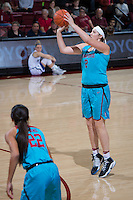 STANFORD, CA - December 4, 2016: Shannon Coffee at Maples Pavilion. Stanford defeated UC Davis, 68-42. The Cardinal wore turquoise uniforms to honor Native American Heritage Month