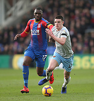 West Ham United's Declan Rice and Crystal Palace's Christian Benteke<br /> <br /> Photographer Rob Newell/CameraSport<br /> <br /> The Premier League - Saturday 9th February 2019  - Crystal Palace v West Ham United - Selhurst Park - London<br /> <br /> World Copyright © 2019 CameraSport. All rights reserved. 43 Linden Ave. Countesthorpe. Leicester. England. LE8 5PG - Tel: +44 (0) 116 277 4147 - admin@camerasport.com - www.camerasport.com