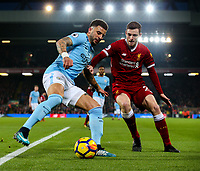 Manchester City's Kyle Walker holds off the challenge from Liverpool's Andrew Robertson<br /> <br /> Photographer Alex Dodd/CameraSport<br /> <br /> The Premier League - Liverpool v Manchester City - Sunday 14th January 2018 - Anfield - Liverpool<br /> <br /> World Copyright &copy; 2018 CameraSport. All rights reserved. 43 Linden Ave. Countesthorpe. Leicester. England. LE8 5PG - Tel: +44 (0) 116 277 4147 - admin@camerasport.com - www.camerasport.com