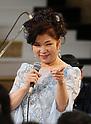 Singer Aki Yashiro performs at Mitsukoshi department store in Tokyo