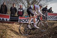Wout Van Aert (BEL/Crelan-Willems)<br /> <br /> men's race<br /> CX Soudal Classics Leuven/Belgium 2017