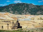 Historic copper mining spoils and headframe, Butte, Montana