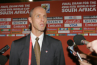 USA Coach Bob Bradley is interviewed after the FIFA Final Draw for the FIFA World Cup 2010 South Africa held at the Cape Town International Convention Centre (CTICC) on December 4, 2009.