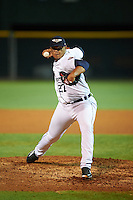 Lakeland Flying Tigers relief pitcher Joe Jimenez (27) delivers a pitch during a game against the Jupiter Hammerheads on March 14, 2016 at Henley Field in Lakeland, Florida.  Lakeland defeated Jupiter 5-0.  (Mike Janes/Four Seam Images)