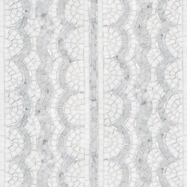 Tanzanian Squiggle, a stone mosaic, shown in polished Thassos, Carrara, and Shell. Designed by Joni Vanderslice as part of the J. Banks Collection for New Ravenna.