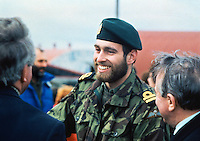Prince Andrew with a beard and uniform on a visit to Port Stanley,  Falkland Islands  in May 1985